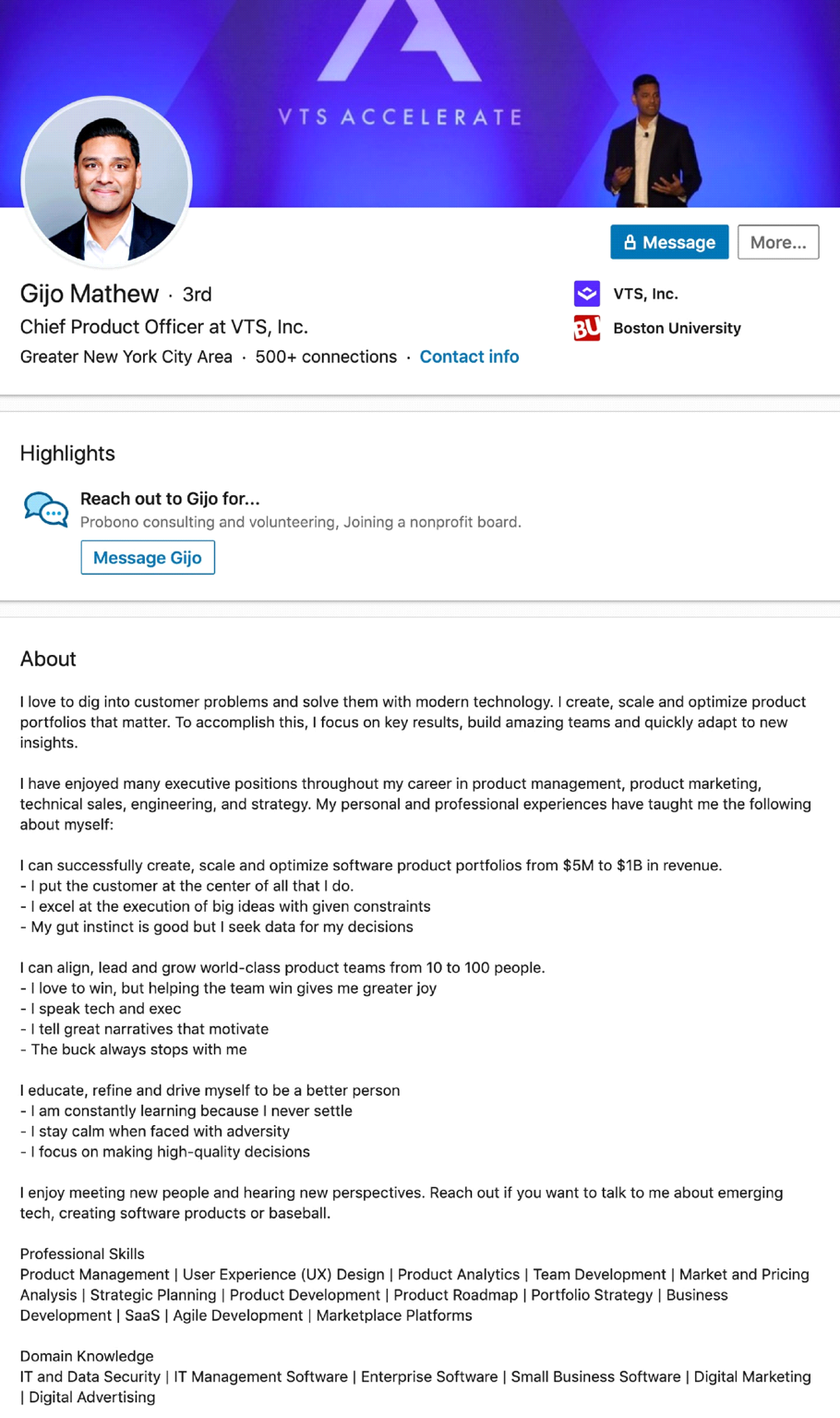 Here are some excellent LinkedIn profile examples